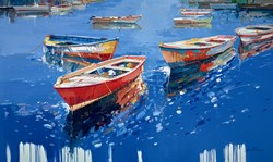 Tethered Tenders by Santana - Original Painting on Box Canvas sized 59x35 inches. Available from Whitewall Galleries